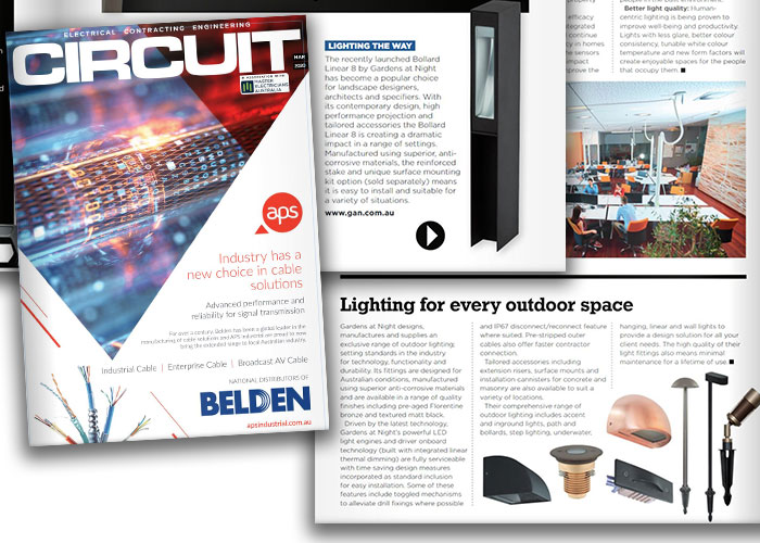 Gardens at Night outdoor lighting featured in Circuit Magazine 2020
