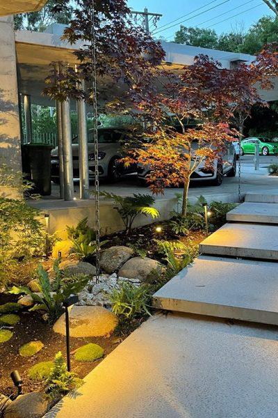 Gardens at Night path and accent lights illuminating garden at night